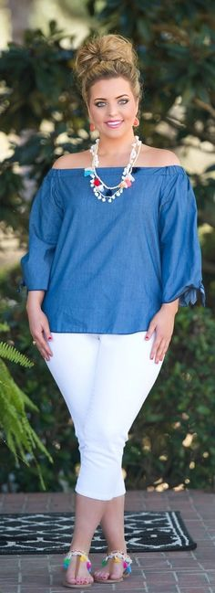 Let's Make Waves Top - Denim - Perfectly Priscilla Boutique