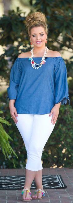 Let's Make Waves Top - Denim - Perfectly Priscilla Boutique