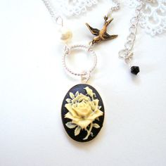 Rose Cameo Necklace Little Brass Bird Swarovski by MissMaryElliott, $24.00 aurora