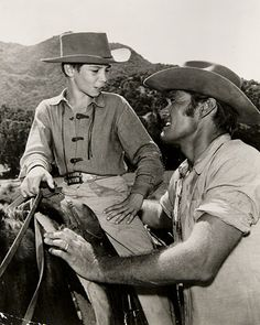 """""""The Rifleman""""  Johnny Crawford and Chuck Connors star in th hit show, """"The Rifleman."""""""