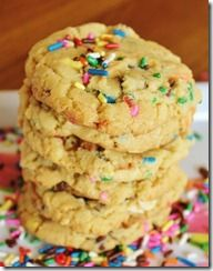 Birthday Cake Cookies are a chocolate chip cookie with a twist. They have not only the usual semi sweet chocolate chips, but also white chocolate chips, sprinkles, and yellow cake mix.