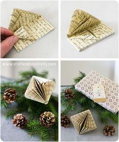 Book folding - by Craft & Creativity Book folding is a trend that we've seen a lot of this past year and if you don't want to use real books, there are 6-packs of small paper pads with printed text that can easily be folded into Christmas decorations. I have painted the pinecones with metallic paint in the shades of gold and copper from Martha Stewart Crafts. The gift wrapping paper in the picture has print on both sides and is called Copenhagen.