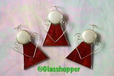 Red stained glass angels. www.facebook.com/glasshopper19