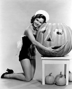 Debbie Reynolds with a large smiling jack-o-lantern, 1953. #vintage #1950s #actresses