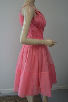 Vintage Bubble Gum Pink Party Dress Full Skirt Rhinestones Sheer Fabric Size 8 Medium Sheer Tulle Pretty! by luvkitsch on Etsy Vintage Party Dresses, Pink Party Dresses, Vintage Outfits, Full Skirt Dress, Full Skirts, Dress Up, Bubblegum Pink, Pink Fabric, Sheer Fabrics