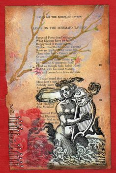Danielle Maret -  Altered Book Page - Mail Art Postcard 177...get poems and draw what you see in your mind