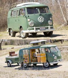 55 Awesome Camper Van Design Ideas for VW Bus Volkswagen Transporter, Volkswagen Bus, Vw Camper, Beetles Volkswagen, Vw Caravan, Vw T1, Campers, Ww Transporter, Kombi Trailer