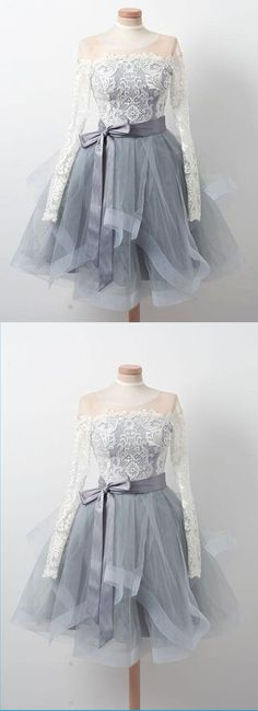 Gray tulle short ruffles prom dress with long sleeves, short lace homecoming dress #prom #dress #promdress #promdresses