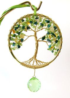 Tree of Life Sun Catcher Peridot and Citrine by BellaDivaBeads