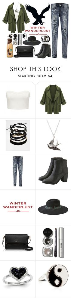 """""""Winter Wanderlust with American Eagle: Contest Entry"""" by zulfastley ❤ liked on Polyvore featuring Forever New, American Eagle Outfitters, ASOS, Kate Spade, Bobbi Brown Cosmetics, Kevin Jewelers, Accessorize and aeostyle"""