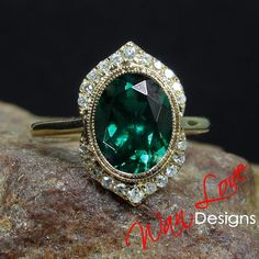 Emerald Diamond Oval Milgrain Bezel Halo Engagement Ring, Custom, Wedding, 14k 18k White Yellow Rose Gold Platinum, WanLoveDesigns