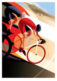 Vuelta poster by guy allen pigment bike art, bicycle art ve bike illustrati Bike Illustration, Graphic Design Illustration, Graphic Art, Poster Retro, Vintage Posters, Bike Poster, Art Deco Posters, Bicycle Art, Cycling Art