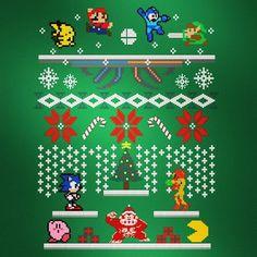 Diciembre mes de regalos familia y la tan esperada #Navidad Así se vería un escenario de #supersmash Retro de #christmas By kingsrock #sectorn #donkeykong #samus #metroid #8bit #videojuegos #ssb4 #pacman #kirby #pikachu #sonic #supermario #link #zelda #megaman