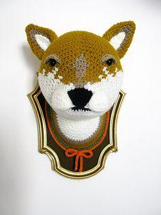 Crochet wolf head in a golden frame by ManafkaMina on Etsy, $170.00