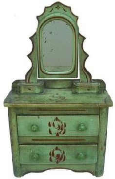Doll Dresser Antique Toys Baby Doll Furniture Painted