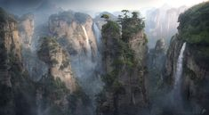 Wulingyuan – A matte painting based off of Wulingyan, a dense forest in China with sandstone pillars. Artwork by Adman Varga.