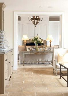 ♔ Limestone floor, soft neutrals, sofa table this is warmer coloured, like it, pretty more cosy soft, compared to other startness crisp of blues/greens.