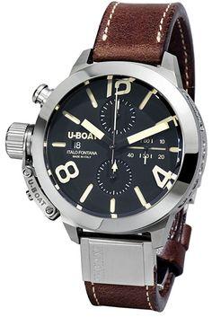 U-Boat, Herren-Automatikuhr mit schwarzem Zifferblatt, Chronograph-Anzeige und braunem Lederband 7430/A
