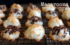 Homemade macaroons! Quick, easy, yummy little treats, made with xylitol and melted carob drizzle -- enjoy one or two of these after dinner on Phase 3 as a healthy-fat dessert.