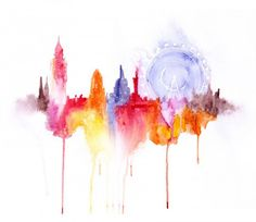 Watercolor cityscapes by Elena Romanova