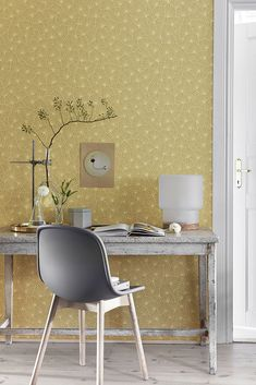 Blomma Yellow Geometric Wallpaper from the Wonderland Collection by Brewster Home Fashions Casadeco Wallpaper, Pattern Wallpaper, Interior Wallpaper, Yellow Geometric Wallpaper, Scandinavian Wallpaper, Burke Decor, Designer Wallpaper, Home Office, Wonderland