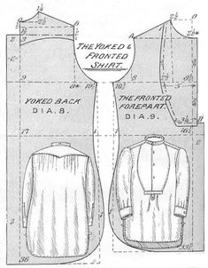 """Prior to the end of the century, men's shirts only had a partial opening in front and were slipped on over the head.  Around 1895 the modern """"coat-shirt"""" appeared which buttoned the entire length of the garment.  This was especially popular for evening shirts perhaps because it was more fitted and the starched bosom could avoid wrinkling during the dressing process."""