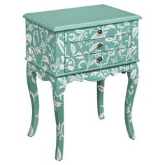 Side Table painted teal with white flower designs.