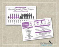 Printable Silhouette Wedding Program Card - Wedding Day Schedule - Gray Purple Program - Custom Colors