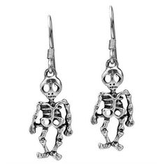 AeraVida Halloween Skeleton .925 Silver Dangle Earrings ($25) ❤ liked on Polyvore featuring jewelry, earrings, multiple colors, diamond earrings, long silver earrings, multi colored earrings, silver dangle earrings and multi color earrings