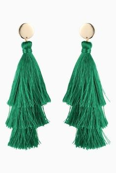 Tassel earrings are a MUST-have this season, and green is a great way to inject some colour into your outfit.
