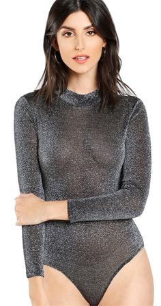 Cheap casual bodysuit, Buy Quality skinny bodysuit directly from China bodysuit women Suppliers: COLROVIE Grey Glitter Mock Neck Sheer Plain Bodysuit 2017 Round Neck Long Sleeve Skinny Bodysuit Women Casual Bodysuit Metallic Bodysuit, Glitter Bodysuit, Sheer Bodysuit, Mesh Bodysuit, Pullover Shirt, Jolie Lingerie, Lingerie Dress, Luxury Lingerie, Grey Long Sleeve Tops