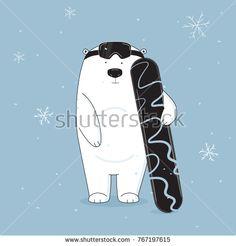 Vector cool and cute bear on snowboard illustration. Hand drawn animal cartoon banner. Baby winter holidays greeting card. Christmas print