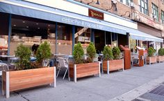 large rectangular wooden planters for sidewalk cafe and restaurant patios - Modern Patio Cafe, Outdoor Restaurant Patio, Outdoor Cafe, Outdoor Dining, Outdoor Decor, Wooden Garden Planters, Patio Planters, Rectangular Planters, Cafe Seating