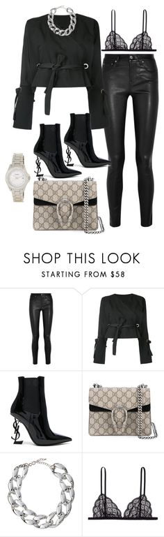 """Untitled #4647"" by dkfashion-658 on Polyvore featuring Helmut Lang, Yves Saint Laurent, Givenchy, Kenneth Jay Lane, Kiki de Montparnasse and FOSSIL"