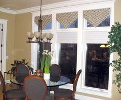 Madison Lane Interiors: Window treatments for transom windows Transom Window Treatments, Transom Windows, Cornice Box, Valance Curtains, Drapery, Family Room, Decorating Ideas, Decor Ideas, Interiors