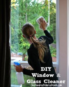 DIY Window and Glass Cleaner This is the most awesome glass cleaner ever! I was a little skeptical about the addition of cornstarch but my windows are spic and span. @Allison Chambers this is what I was telling you about this morning. @Mavis One Hundred Dollars A Month is awesome :)