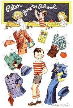 PETER GOES TO SCHOOL Story Parade October 1950 Hilda Miloche  paper dolls