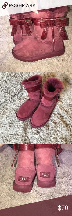 Sangría Ugg Boots Super cute sangria colored bow Ugg Boots! Good condition only worn outside a handful of times. NO BOX UGG Shoes Winter & Rain Boots