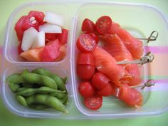 Salmon and cream cheese roll-ups, melon, and edamame