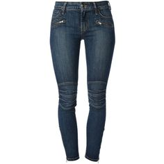 Koral Skinny Jeans ($133) ❤ liked on Polyvore featuring jeans, pants, blue, blue jeans, button-fly jeans, motorcycle jeans, 5 pocket jeans and zipper jeans
