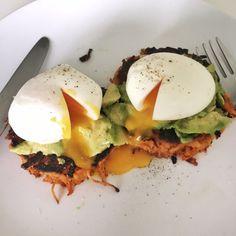 Sweet Potato Hash Browns with Avocado & Egg (Paleo breakfast idea) : Heidi Jones Health & Nutrition Coach