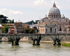 Rome Italy Photography - St. Peters Cathedral Photo - Architecture Photograph - Italian Decor Wall Art Bridge River Urban Landscape