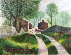 Morning on the Farm - watercolour inspired by Terry Harrison Pen And Wash, Nature Drawing, Landscape Paintings, Landscapes, Watercolor Paintings, Watercolour, Art Tutorials, My Arts, Architecture