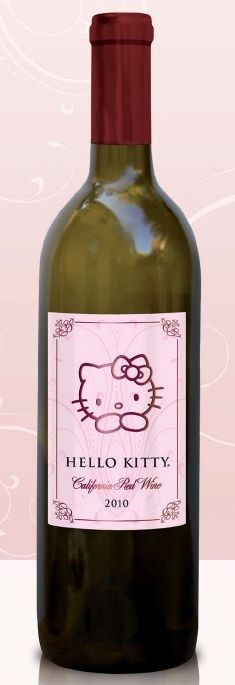 Hello Kitty California Red Wine 2010 from California - Deep purple in color, this red blend shows aromas of warm baked berry cobbler spiked with cinnamon and nutmeg. Hello Kitty Wine, Hello Kitty Items, Hello Hello, Bad Cats, Here Kitty Kitty, Rilakkuma, Unique Recipes, Yummy Drinks, Sanrio
