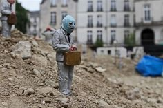 """Issac Cordal, """"Follow the leaders,"""" 2013, installation, Nantes, France"""