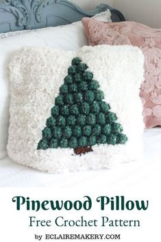 Pinewood Pillow Tapestry Crochet Bobble Christmas Pillow Cover Free Pattern Stay warm and cozy for the holidays with the Pinewood Pillow, perfect for Christmas in July. Crochet Christmas Decorations, Christmas Cushions, Christmas Crochet Patterns, Christmas Pillow, Crochet Christmas Blanket, Crochet Ornaments, Crochet Snowflakes, Crochet Pillow Patterns Free, Free Crochet