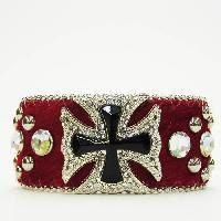 Red Rhinestone Cross Cuff Bracelet