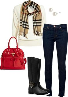 Burberry Scarf, Red Handbag, Boots, Pearl Studs, & Jeans