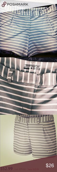 🏌️‍♀️Women's Nike Golf Shorts Grey/White ORG$80 LIKE NEW CONDITION 🏌️‍♀️ ⭕️ORIGINALLY $80 ⭕️ Zip fly with hook-and-bar closure 2-way stretch elastic waistband provides a comfortable and secure fit 2 side pockets Two back pockets Two belt loop sizes accommodate a regular belt Swoosh design trademark embroidered on left front hem Woven stretch fabric for improved fit and durability Dri-FIT fabric moves sweat away from the body to keep you dry and comfortable Brand: Nike Fabric: 85% Polyester…