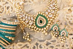 Indian bridal Jewelry. Statement necklace with earrings and bangles